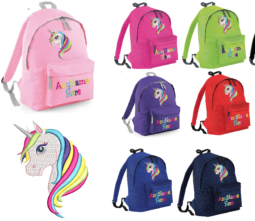 Unicorn in Rainbow Multi colours design Rucksack/Backpack.